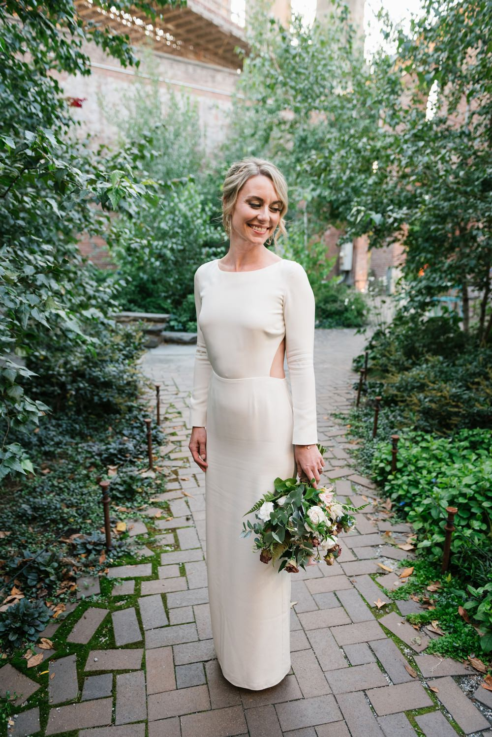 Dress Gown Bride Bridal Backless Long Sleeves Houghton NYC Brooklyn Elopement Everly Studios