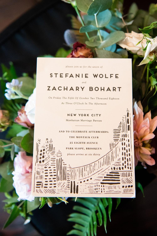 Invitationery Staionery Invite Illustrated Destination Brooklyn Elopement Everly Studios