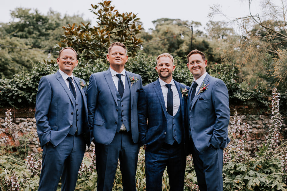 Groom Suit Blue Buttonhole Tie Waistcoat Groomsmen Butley Priory Wedding Sally Rawlins Photography