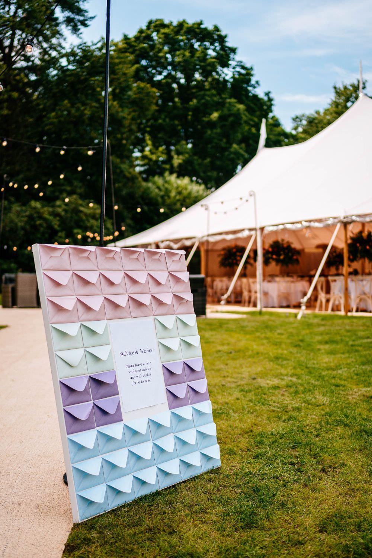 Guest Book Envelope Board Pole Tent Carousel Wedding Sarah Legge Photography