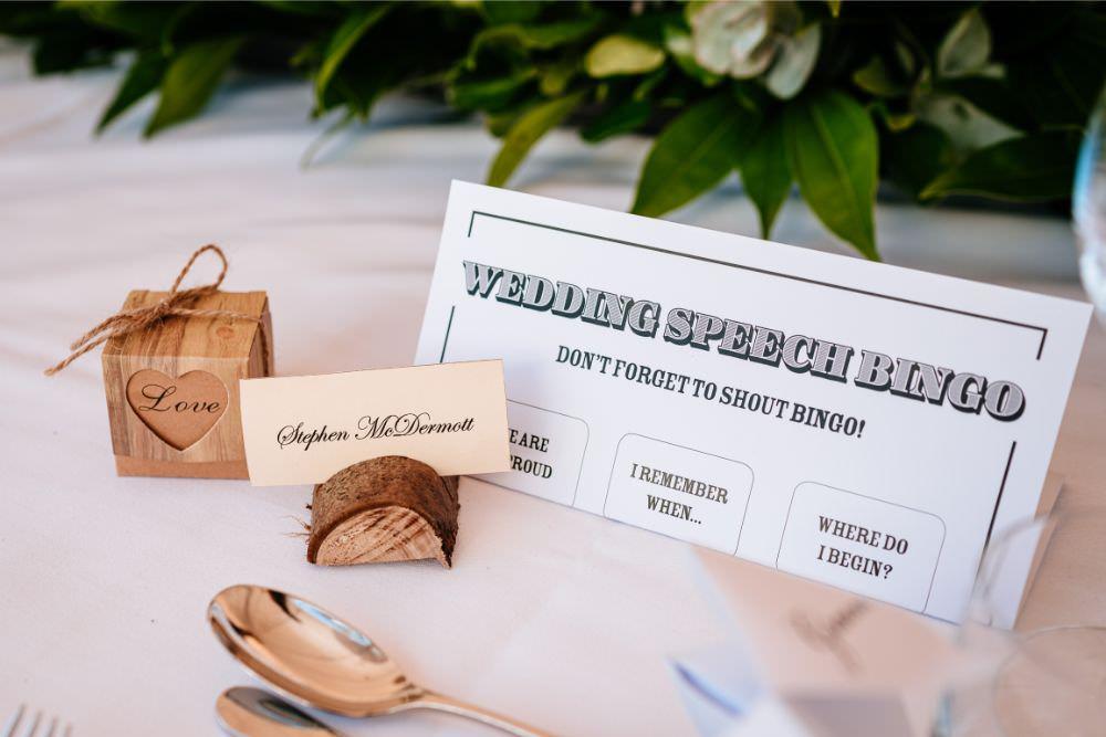 Wedding Speech Bingo Wood Slice Place Card Favour Box Carousel Wedding Sarah Legge Photography
