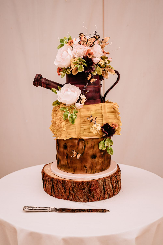 Rustic Cake Garden Wood Slice Carousel Wedding Sarah Legge Photography
