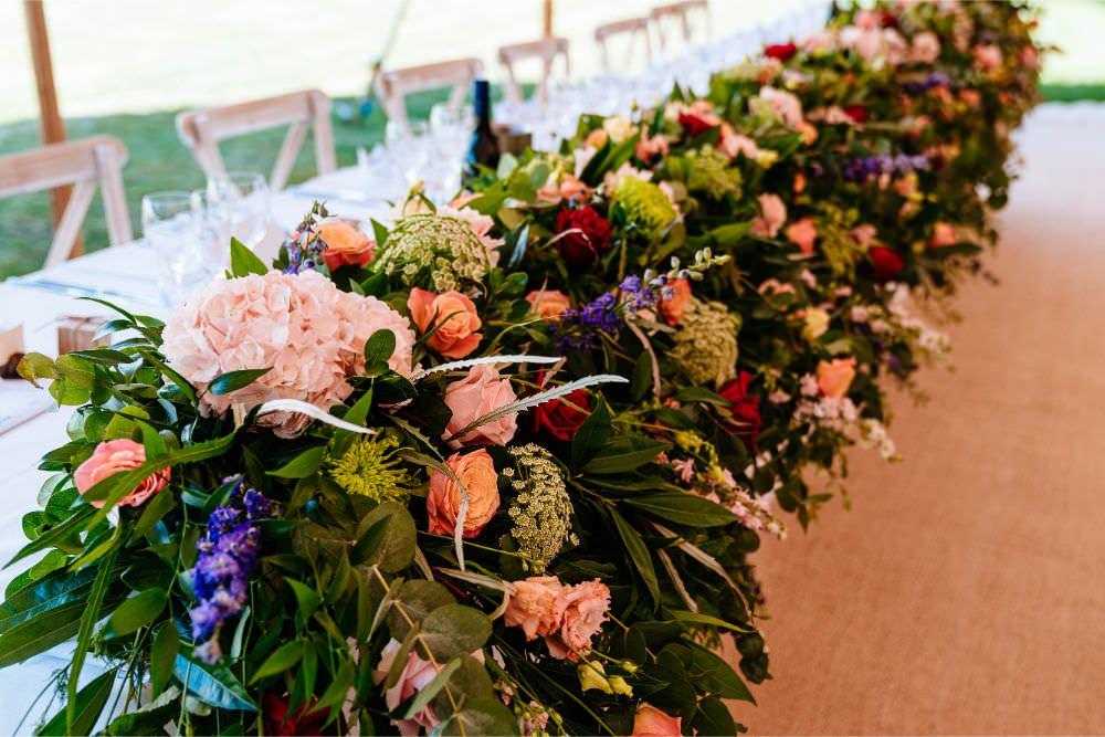 Greenery Floral Runner Top Table Carousel Wedding Sarah Legge Photography