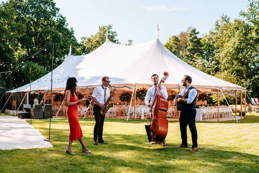 Band Drinks Reception Roaming Carousel Wedding Sarah Legge Photography