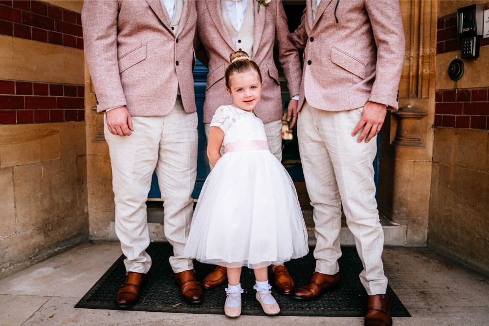 Flower Girl White Dress Pink Sash Ballet Shoes Carousel Wedding Sarah Legge Photography