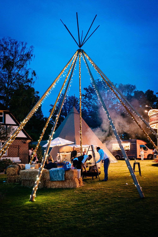 Naked Tipi Fairy Lights Carousel Wedding Sarah Legge Photography