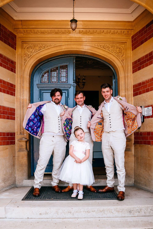 Pink Jacket Suit Groom Chinos Custom Lining Bespoke Flower Girl Carousel Wedding Sarah Legge Photography