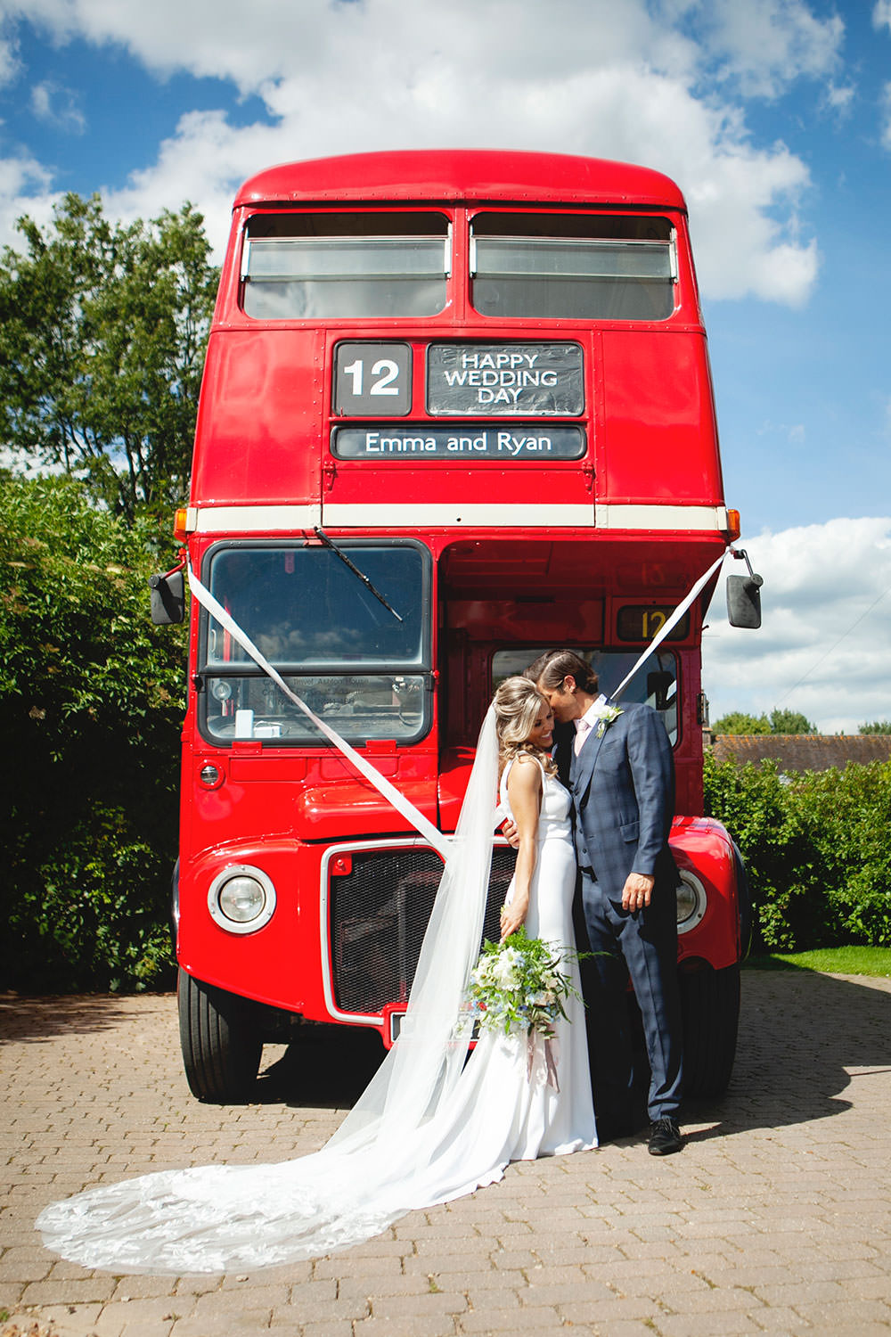 Bride bridal Fitted Fishtail Dress Gown Checked Suit Groom Vintage Bus Bouquet Countryside Barn Wedding Katrina Matthews Photography