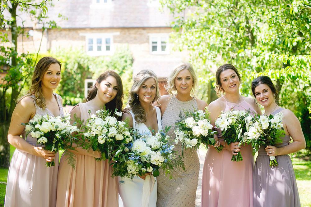 Bride bridal Fitted Fishtail Dress Gown Blush Pink Mauve Maxi Full Length Bridesmaids Countryside Barn Wedding Katrina Matthews Photography