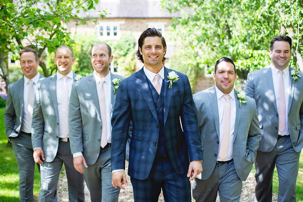 Checked Suit Navy Blue Groom Grey Groomsmen Countryside Barn Wedding Katrina Matthews Photography