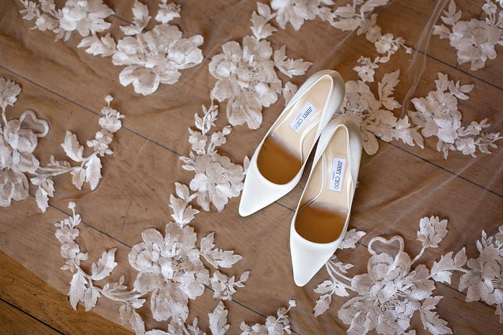 Bride Bridal Jimmy Choos Shoes Embroidered Flower Floral Veil Countryside Barn Wedding Katrina Matthews Photography