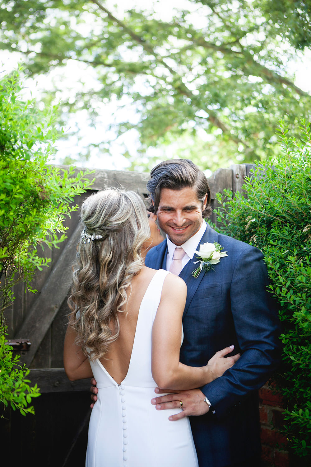 Bride bridal Fitted Fishtail Dress Gown Checked Suit Groom Button V Back Countryside Barn Wedding Katrina Matthews Photography