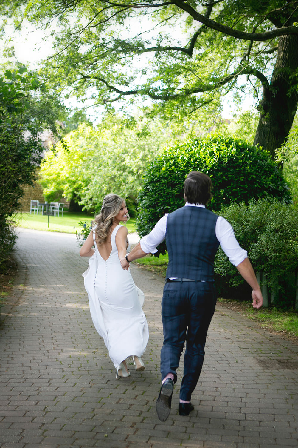 Bride bridal Fitted Fishtail Dress Gown Checked Suit Groom Waistcoat V Back Button Countryside Barn Wedding Katrina Matthews Photography