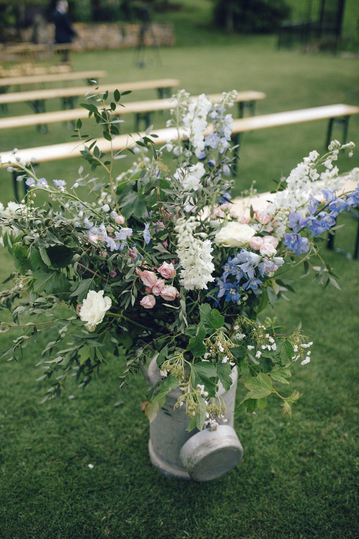 Milk Churn Flowers Wild Seasonal Blue Cream Deer Park Hall Wedding Curious Rose Photography