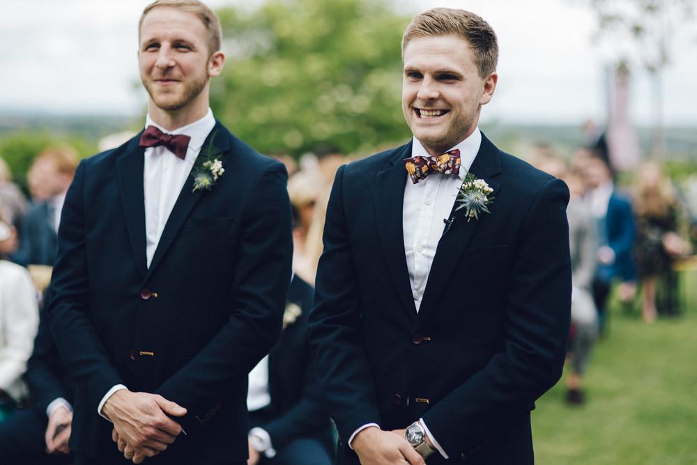 Groom Groomsmen Suits Blue Tweed Bow Tie Floral Deer Park Hall Wedding Curious Rose Photography