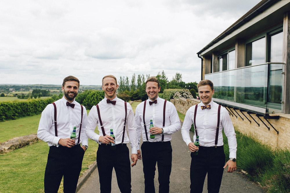 Groom Groomsmen Suits Blue Tweed Bow Tie Floral Braces Deer Park Hall Wedding Curious Rose Photography