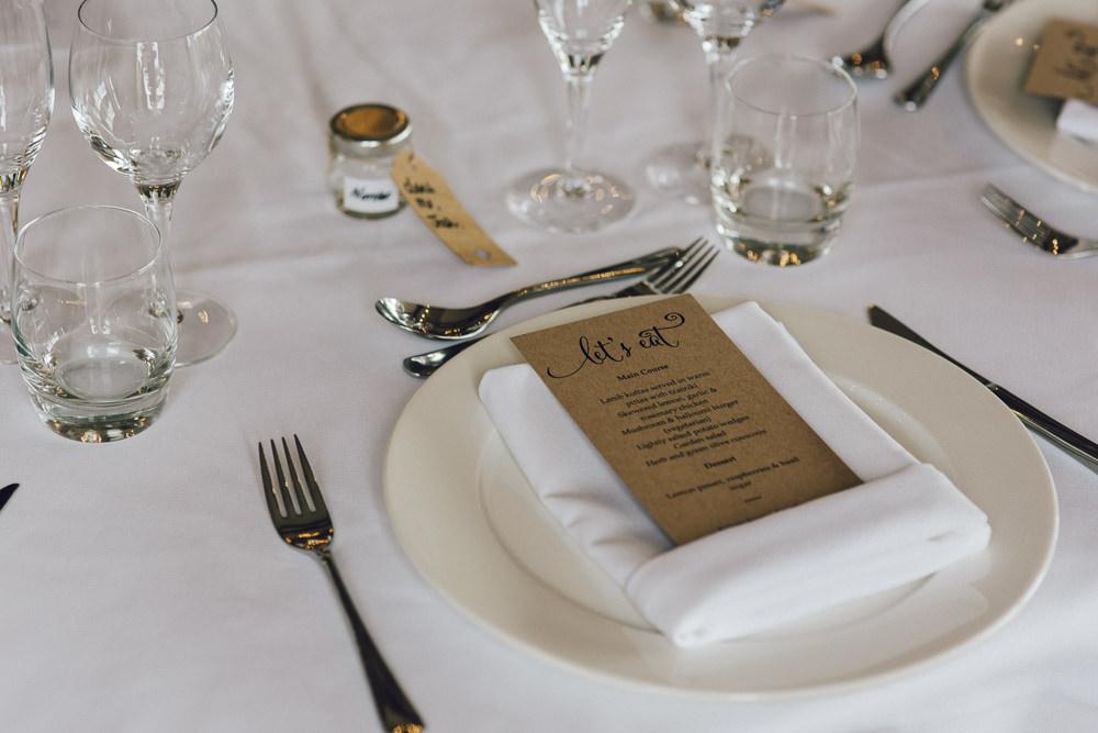 Menu Place Setting Deer Park Hall Wedding Curious Rose Photography