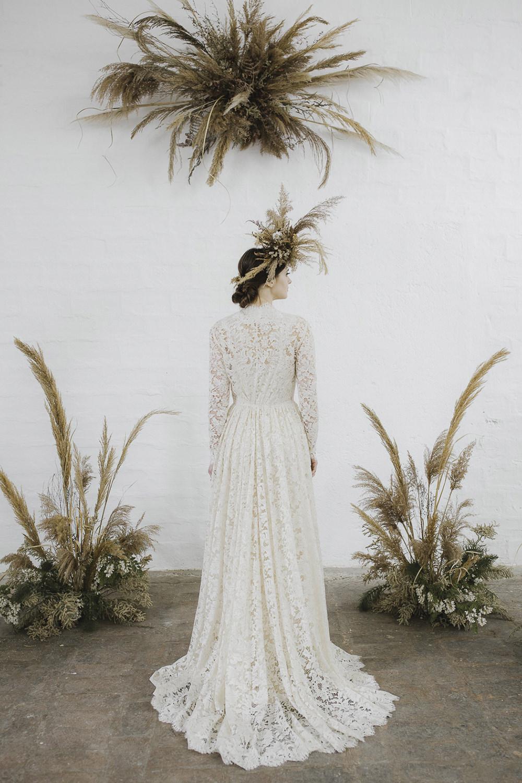 Ethereal Artistic Wedding Ideas Francesca Francesca Pampas Grass Flowers Flower Arrangement Ceremony Aisle Backdrop Cloud Suspended