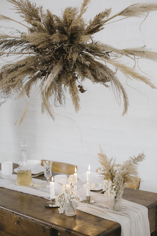 Pampas Grass Flowers Flower Arrangement Cloud Suspended Table Decor Decorations Ethereal Artistic Wedding Ideas Francesca Francesca