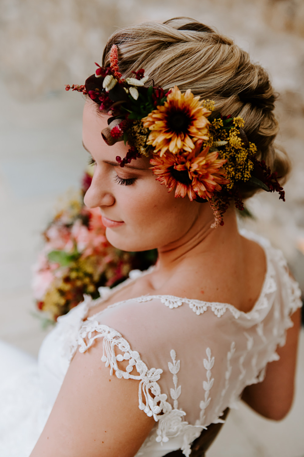 Bride Bridal Hair Flower Crown Halo Headdress Accessory Ethical Wedding Ideas Sadie Osborne Photography