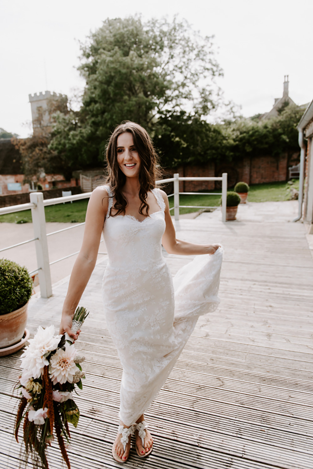 Bride Bridal Dress Gown Lace Straps Train Ethical Wedding Ideas Sadie Osborne Photography