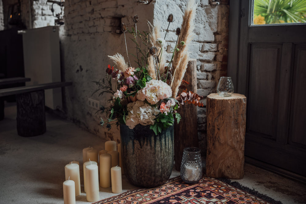 Pampas Grass Flowers Candles Log Slice Decor Decoration France Destination Wedding The Shannons Photography