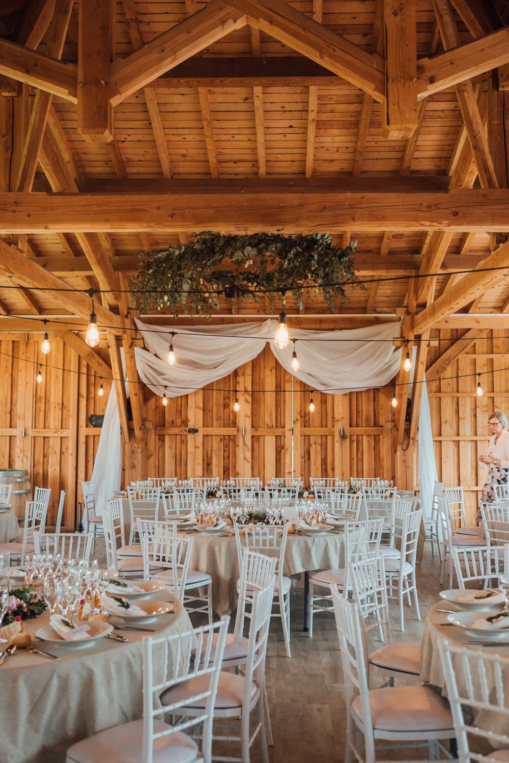 Barn Festoon Lights Drapes Decor Decoration France Destination Wedding The Shannons Photography