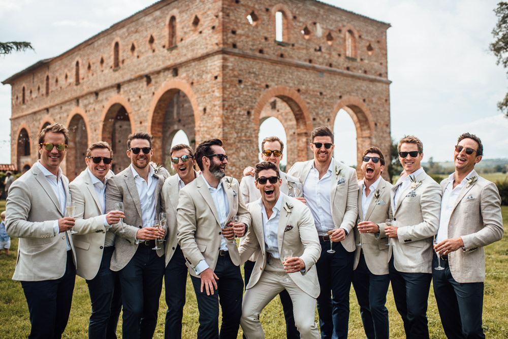 Groom Groomsmen Suit Cream Linen Blazer Chinos France Destination Wedding The Shannons Photography