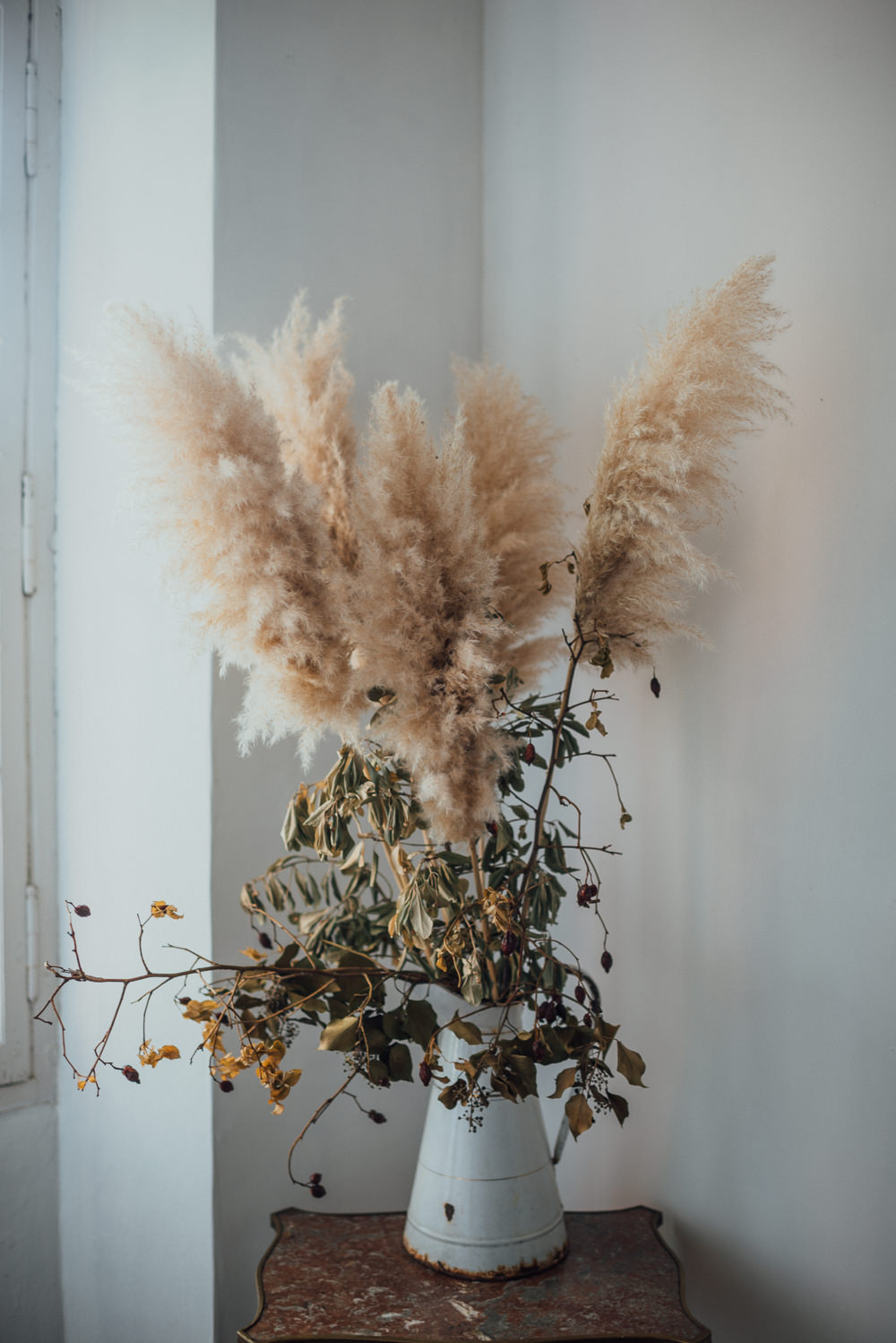 Flowers Vase Pampas Grass France Destination Wedding The Shannons Photography