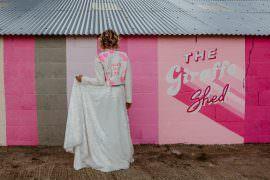 Bride Bridal Top Skirt Sequins Leather Jacket Pink Giraffe Shed Wedding When Charlie Met Hannah