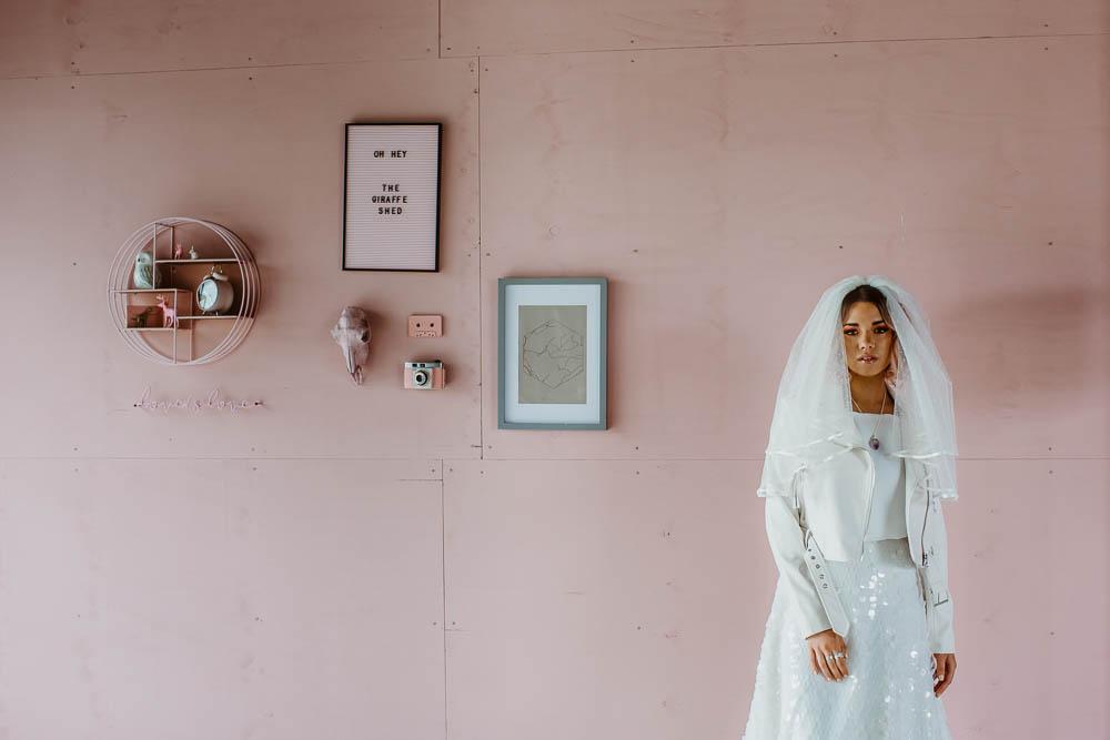 Bride Bridal Top Skirt Sequins Pink Wall Veil Giraffe Shed Wedding When Charlie Met Hannah