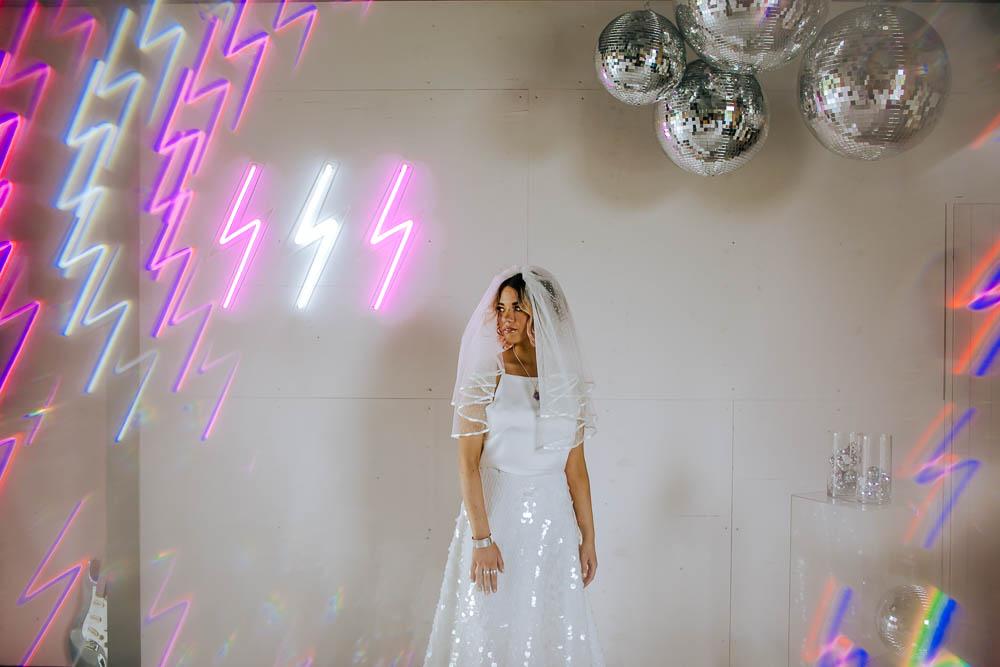 Bride Bridal Top Skirt Sequins Veil Lighting Neon Sign Giraffe Shed Wedding When Charlie Met Hannah