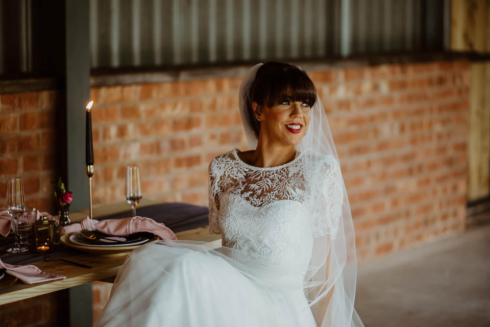 Bride Bridal Dress Gown Tulle Veil Giraffe Shed Wedding When Charlie Met Hannah