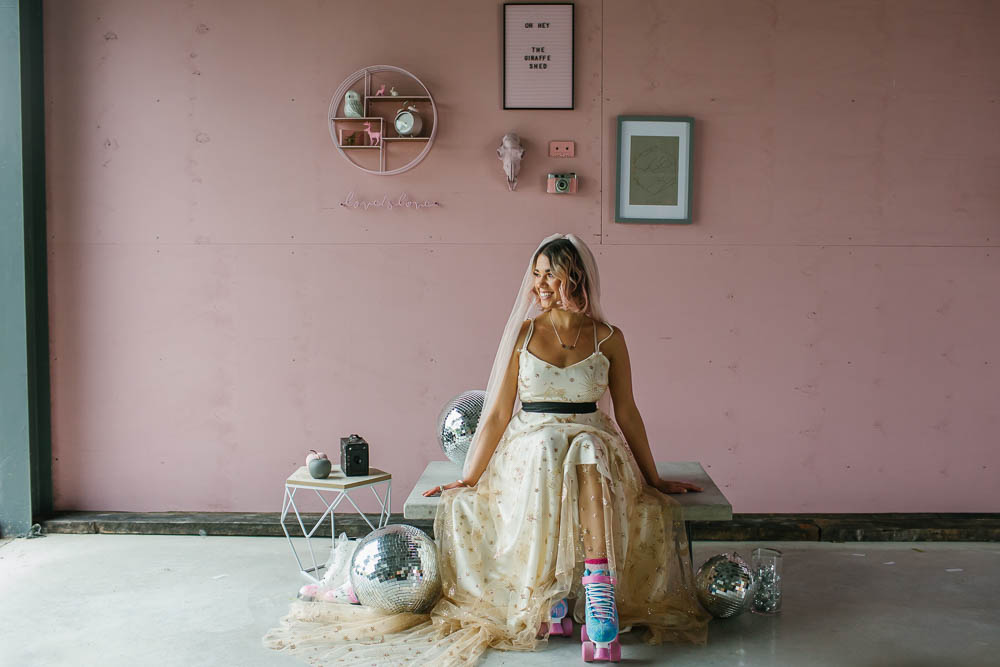 Bride Bridal Dress Gown Celestial Stars Moons Gold Veil Giraffe Shed Wedding When Charlie Met Hannah