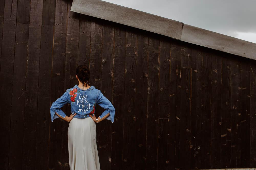 Bride Bridal Denim Jacket Personalised Painted Giraffe Shed Wedding When Charlie Met Hannah