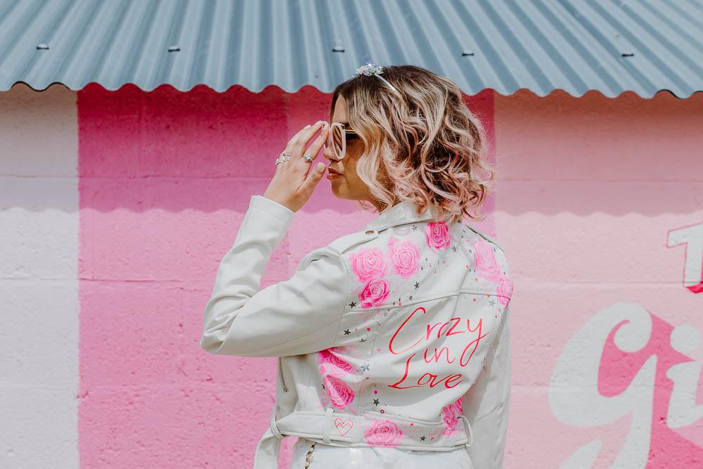Pink Wall Bride Bridal Jacket Painted Personalised Floral Giraffe Shed Wedding When Charlie Met Hannah