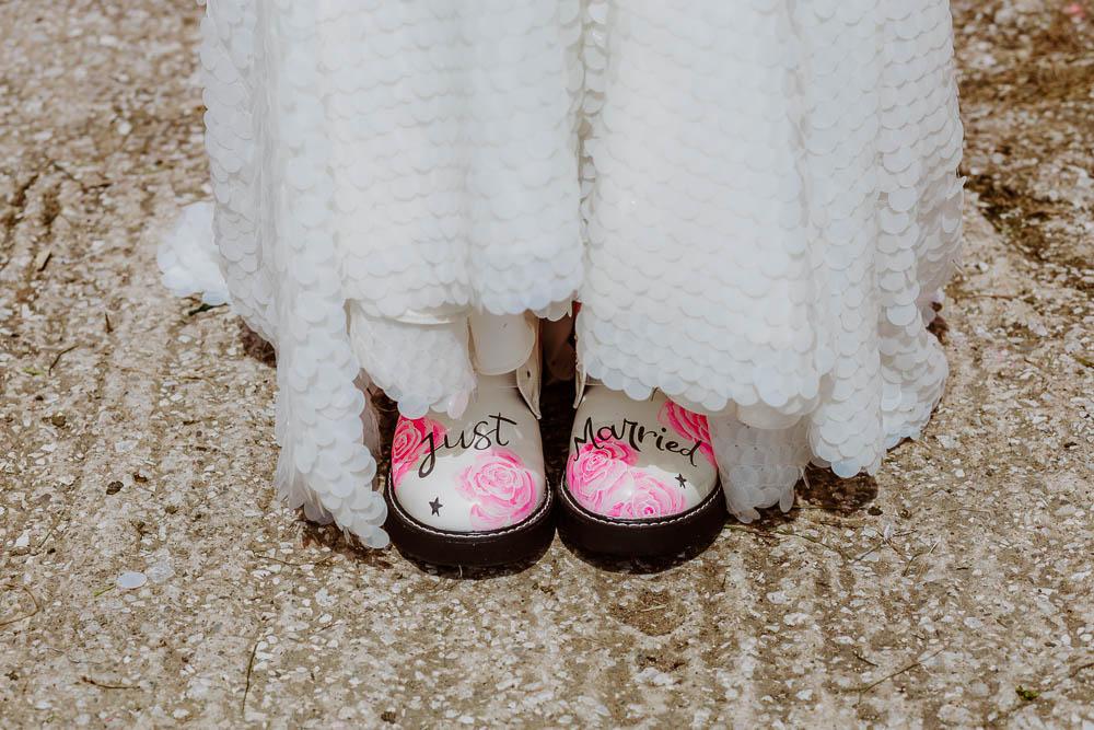 Pink Painted Doctor Martens DMs Bride Bridal Floral Giraffe Shed Wedding When Charlie Met Hannah