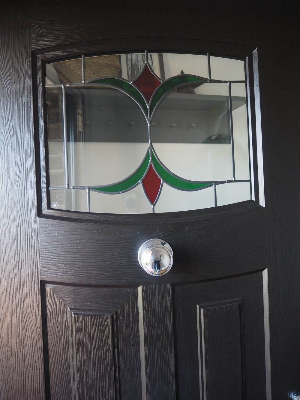 Hallway Renovation 1930s Front Door Rockdoor Newark Black Stained Glass Composite