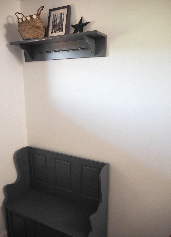 Hallway Renovation 1930s Peg Shelf Bench Storage Hall Dark Grey
