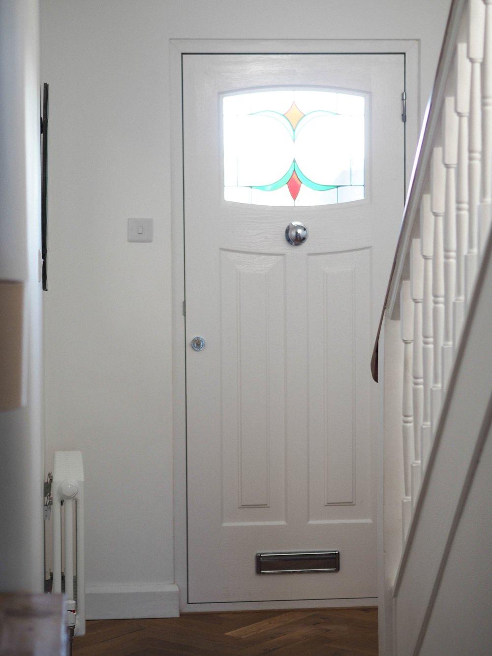 Hallway Renovation 1930s Front Door Rockdoor Newark White Stained Glass Composite