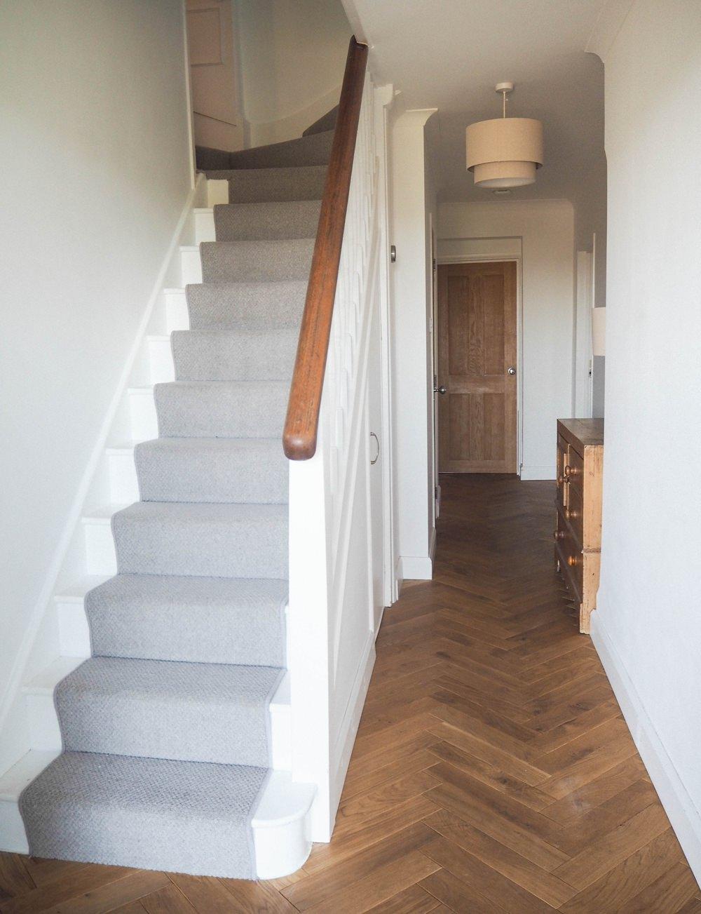 Hallway Renovation 1930s Stairs Herringbone Parquet Floor Oak Stair Runner