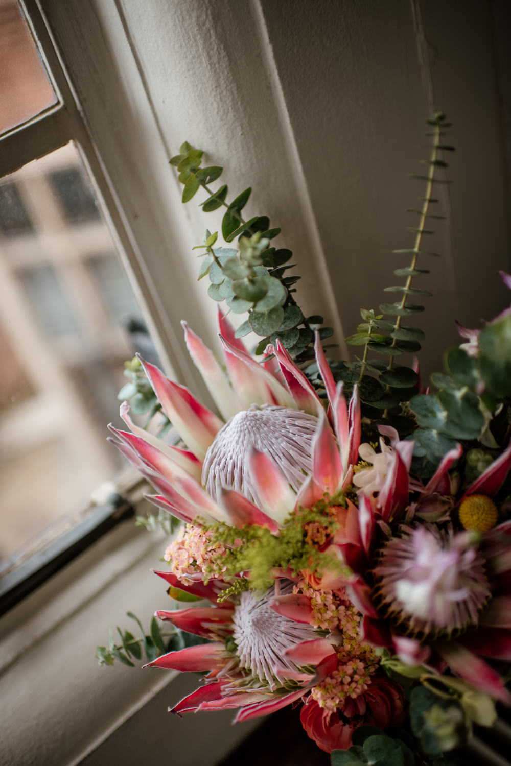 Bouquet Flowers Bride Bridal King Protea Craspedia Eucalyptus Henry Moore Wedding Ellie Gillard Photography