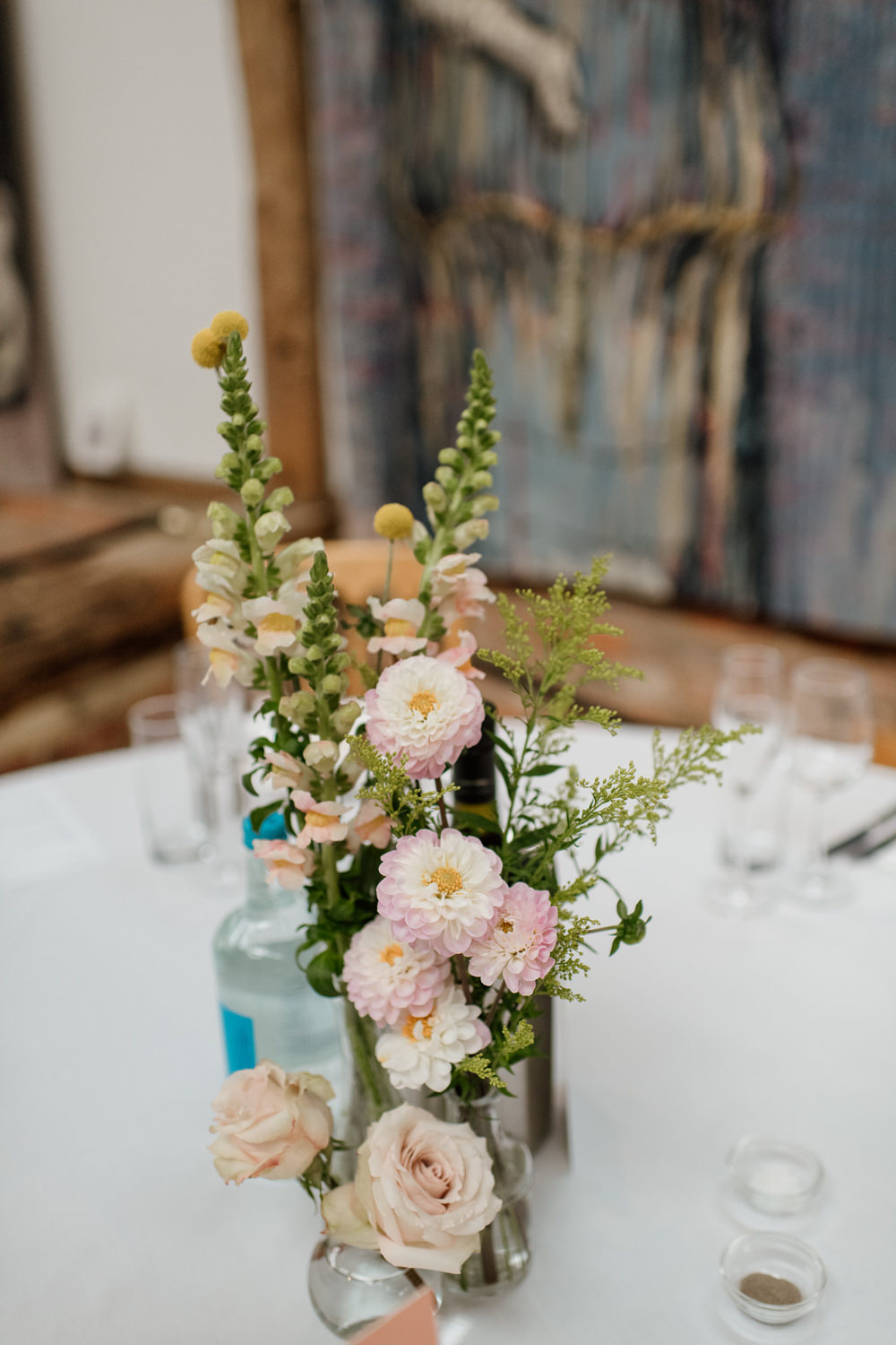 Bottle Flowers Centrepiece Henry Moore Wedding Ellie Gillard Photography