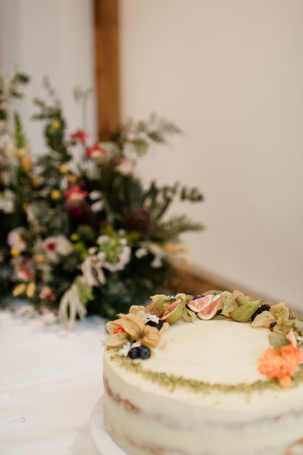 Semi Naked Cake Fruit Henry Moore Wedding Ellie Gillard Photography