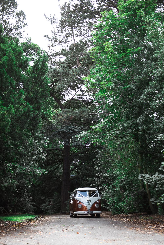 VW Camper Van Bride Bridal Transport Hexham Winter Gardens Wedding Leighton Bainbridge Photography