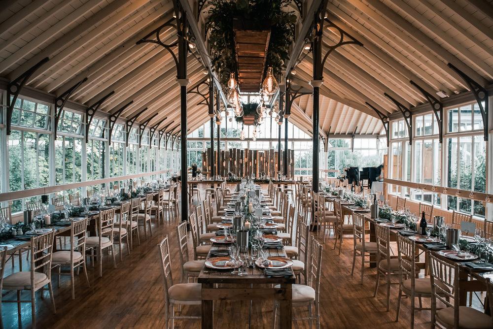 Glasshouse Dining Layout Greeenery Hexham Winter Gardens Wedding Leighton Bainbridge Photography