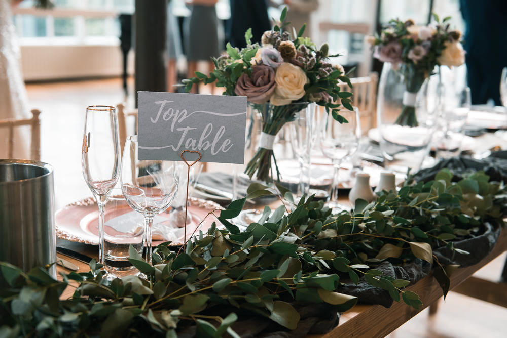 Top Table Sign Greenery Foliage Runner Hexham Winter Gardens Wedding Leighton Bainbridge Photography