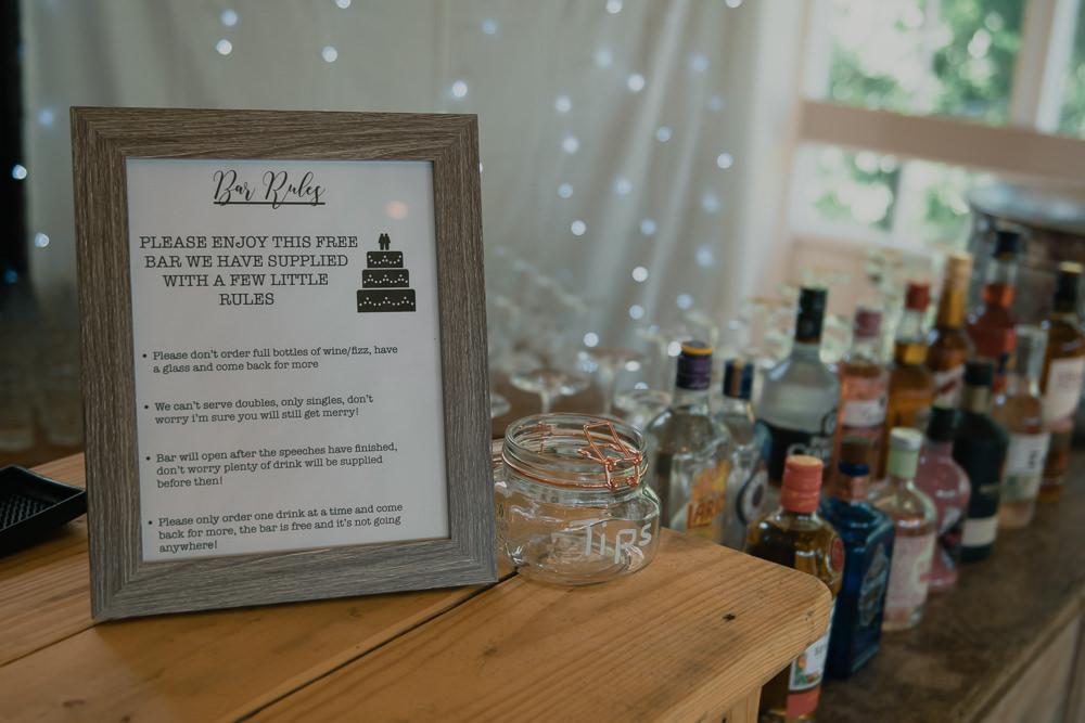 Bar Rules Sign Hexham Winter Gardens Wedding Leighton Bainbridge Photography