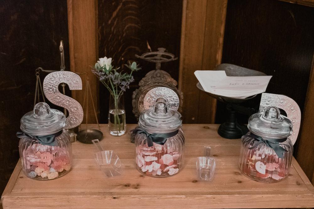 Sweet Sweetie Table Scales Initials Vintage Jars Hexham Winter Gardens Wedding Leighton Bainbridge Photography