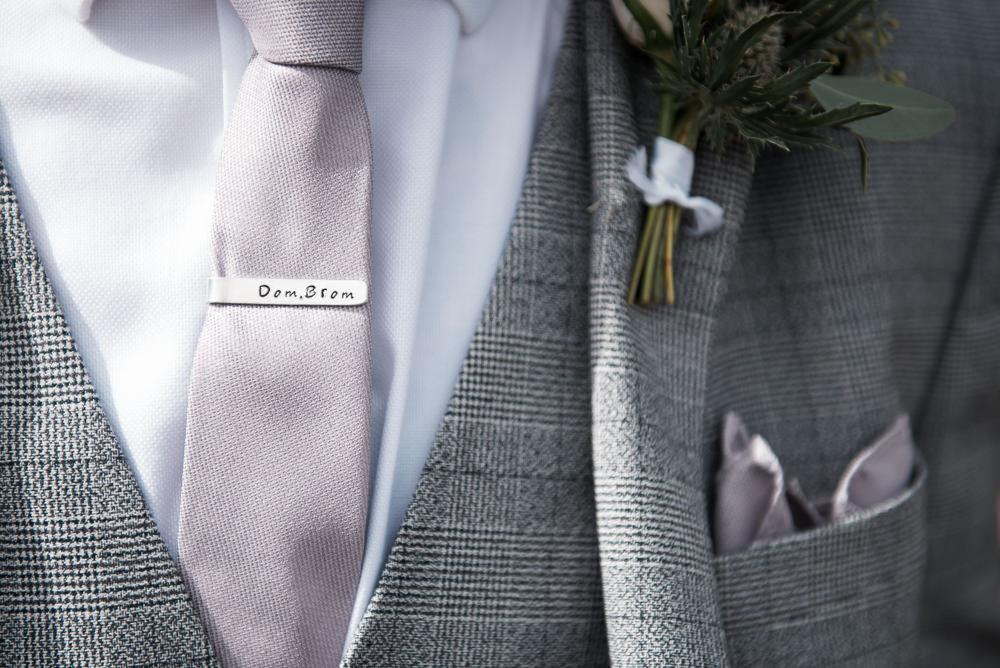 Tie Pin Slide Groom Three Piece Suit Waistcoat Groom Pocket Square Hexham Winter Gardens Wedding Leighton Bainbridge Photography